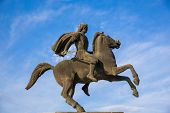 pic of great horse  - Alexander the Great statue on city square in Thessaloniki Greece