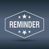 foto of reminder  - reminder hexagonal white vintage retro style label - JPG