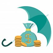 picture of golden coin  - stacks of golden coins and money bag under an green umbrella - JPG