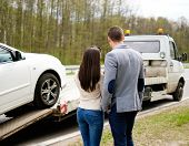picture of tow-truck  - Couple near tow - JPG
