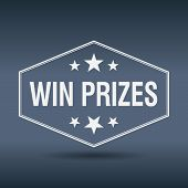 picture of prize  - win prizes hexagonal white vintage retro style label - JPG