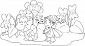 image of elf  - Elf with cute snail among violets and grass - JPG