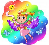 picture of faerie  - Fairy lady flying in a rainbow sky - JPG