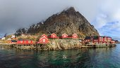 pic of reining  - Reine is a beautiful fishing village in Lofoten Islands - JPG
