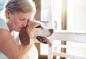 pic of snuggle  - Senior woman with her dog inside of her house - JPG
