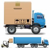 foto of truck-cabin  - Truck with carton box - JPG