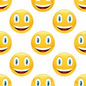 picture of emoticons  - Vector smiling emoticon repeated on white background - JPG