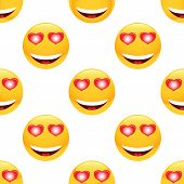 image of emoticons  - Vector in love emoticon repeated on white background - JPG