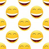 picture of emoticons  - Vector laughing emoticon repeated on white background - JPG