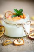 foto of home addition  - home sweet yogurt with dried fruit cooked in a glass jar