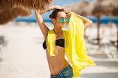 stock photo of sun-tanned  - Young beautiful hot sexy woman - JPG