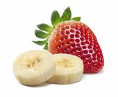 picture of banana split  - Single strawberry and banana pieces isolated on white background as package design element - JPG