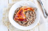 image of buckwheat  - Delicious baked chicken with boiled buckwheat and rosemary sauce - JPG