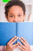 picture of schoolgirl  - Young pretty mulatto schoolgirl holding a book in hands - JPG
