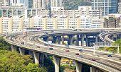 stock photo of hong kong bridge  - view on Hong Kong highway bridge at day - JPG