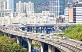 picture of hong kong bridge  - view on Hong Kong highway bridge at day - JPG