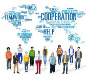 picture of coworkers  - Cooperation Business Coworker Planning Help Teamwork Concept - JPG