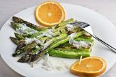 picture of raft  - Sesame and garlic grilled asparagus rafts with parmesan shavings and orange - JPG