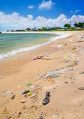 picture of polution  - Pollution on the beach of tropical sea - JPG