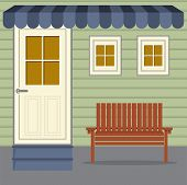 image of awning  - Wooden Chair Under Stripes Awning Vector Illustration - JPG