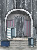 stock photo of curtains stage  - Fantasy stage with box and blue curtain - JPG