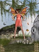 stock photo of fairy-mushroom  - Fantasy landscape with orange fairy and butterfly - JPG