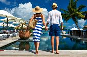 picture of jetties  - Couple near poolside jetty at Seychelles - JPG