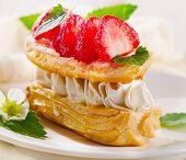 stock photo of cream puff  - Sweet cream puff with strawberries - JPG