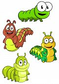 stock photo of caterpillar cartoon  - Cute colorful cartoon caterpillars characters with happy smiling faces and different patterns - JPG