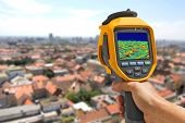 stock photo of thermal  - Recording panorama of Zagreb With Infrared Thermal Camera - JPG