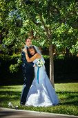 pic of bridal veil  - Bride and Groom at wedding Day walking Outdoors on spring nature - JPG