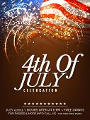 picture of waving  - Beautiful invitation card decorated with fireworks on waving national flag background for 4th Of July - JPG