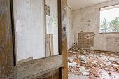 stock photo of abandoned house  - Interior of abandoned and ruined house - JPG