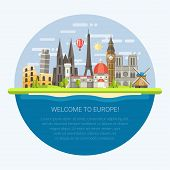 picture of world-famous  - Vector illustration of flat design composition with famous european world landmarks icons - JPG