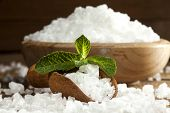 picture of salt-bowl  - Sea salt in bowl and spoon on a wooden background - JPG