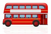 pic of british culture  - london red bus vector illustration isolated on white background - JPG