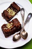 picture of chocolate spoon  - Chocolate Mocha Cakes Mocha Frosting Cream and Nuts with Silver Tea Spoons closeup on White Plate - JPG
