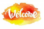 foto of ombres  - Welcome hand drawn lettering against watercolor background - JPG