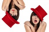 stock photo of top-hat  - nice girl with top hat red isolated on white - JPG