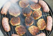 image of meatball  - Fresh grilled sausages and meatballs closeup view