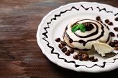 picture of dessert plate  - Tasty panna cotta dessert on plate - JPG