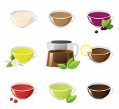 stock photo of black tea  - Set of different tea in cups with teapot. Tea with milk tea with mint currant tea jasmine tea 