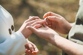 stock photo of marriage ceremony  - Wedding rings - JPG