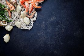 picture of shrimp  - Delicious fresh fish and seafood on dark vintage background - JPG