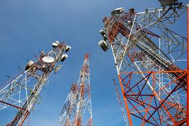 picture of antenna  - Telecommunication mast TV antennas with blue sky in the morning - JPG