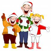 foto of christmas song  - Vector illustration of three cheerful Christmas carolers - JPG