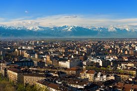stock photo of torino  - Panorama from the Mole Antonelliana of the city of Turin  - JPG