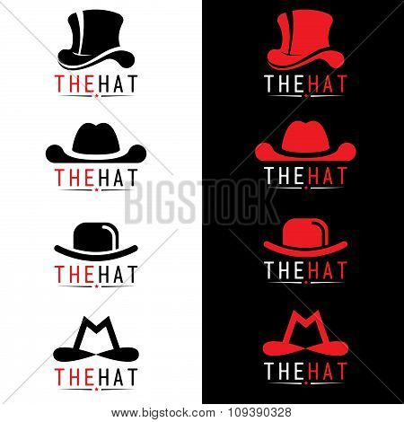 Black and red hat logo