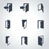Vector black door icon set poster