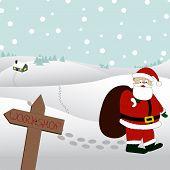 Santa Is Walking Through The Snow
